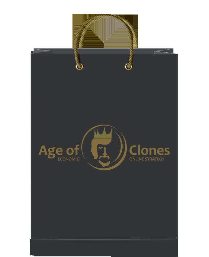 Бумажный пакет с люверсами и логотипом Age of Clones