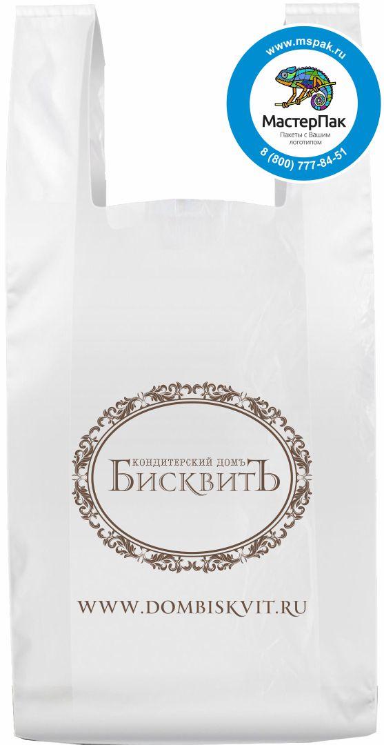 Пакет майка ПНД 16 мкм для кондитерского дома БисквитЪ