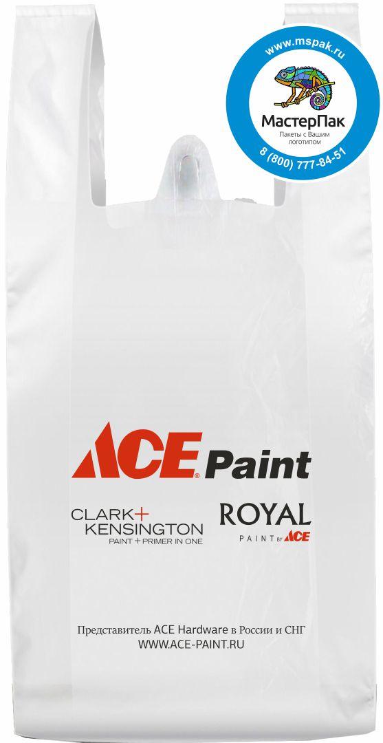 Пакет-майка ПНД с логотипом ACE Paint (флексопечать)