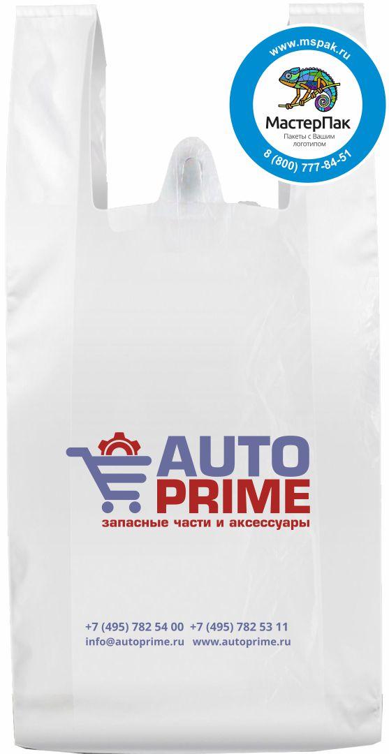 Пакет-майка ПНД с логотипом Auto Prime, флексопечать