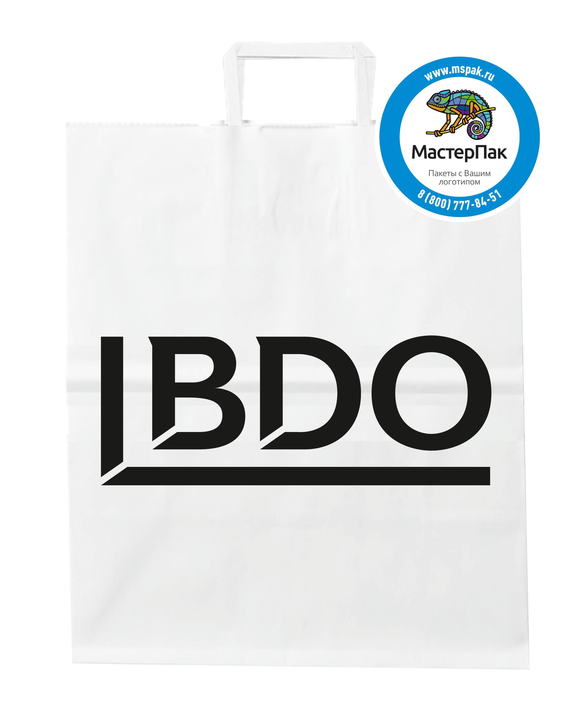 Пакет бумажный, крафт с плоскими ручками и логотипом BDO, Москва
