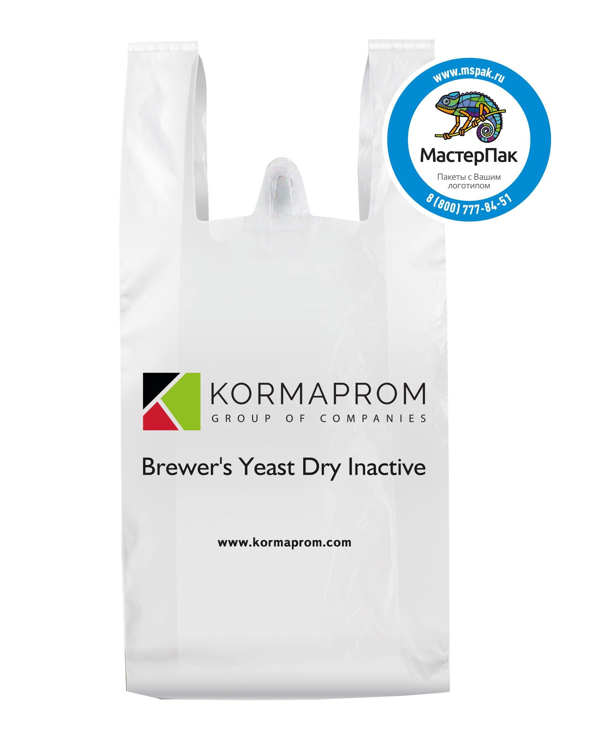 Пакет-майка с логотипом, флексопечать, ПНД для производителя комбикормов и кормовых добавок Kormaprom от МастерПАК