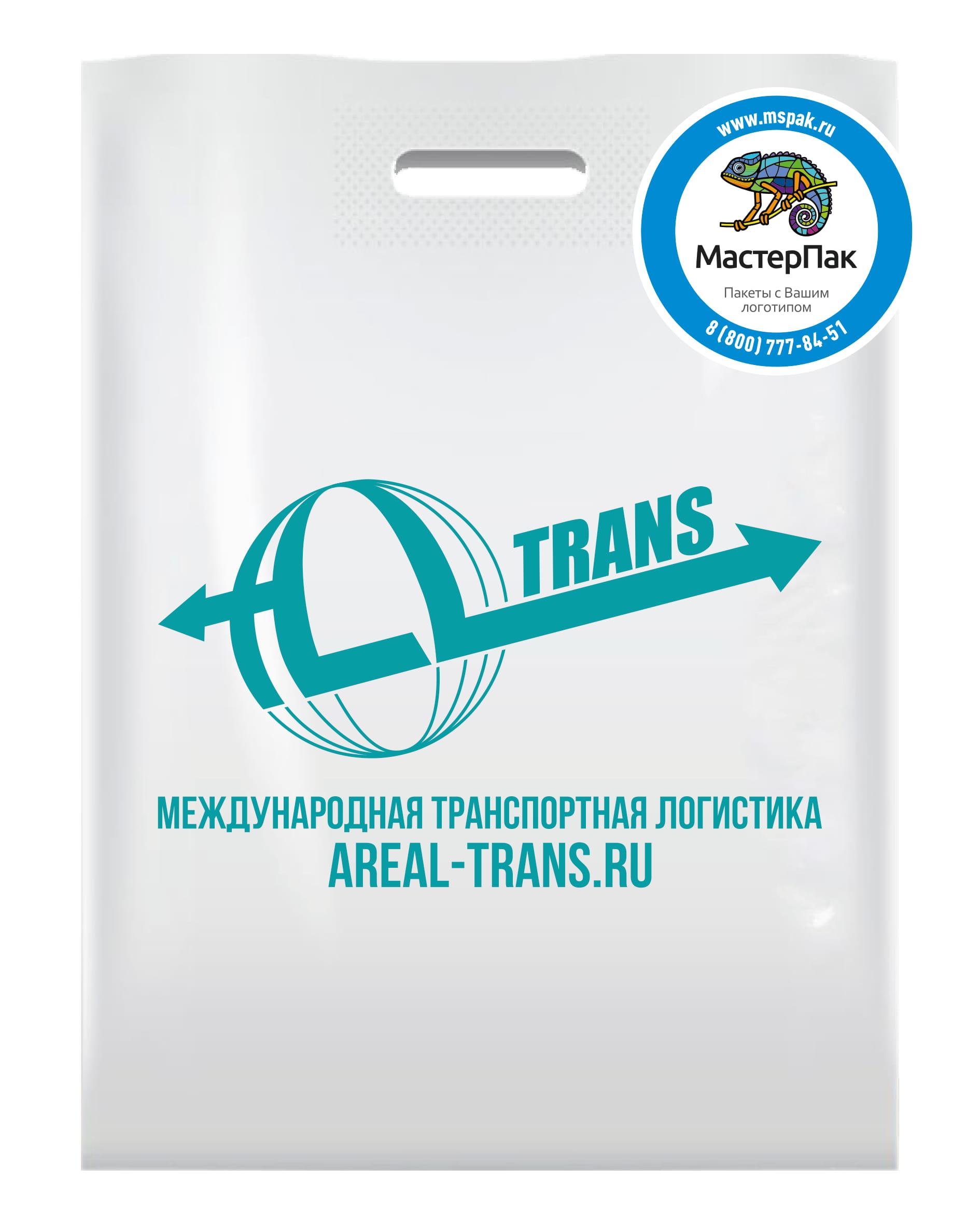 Пакет ПВД с логотипом Areal-Trans, вырубная ручка, 70 мкм, 30*40