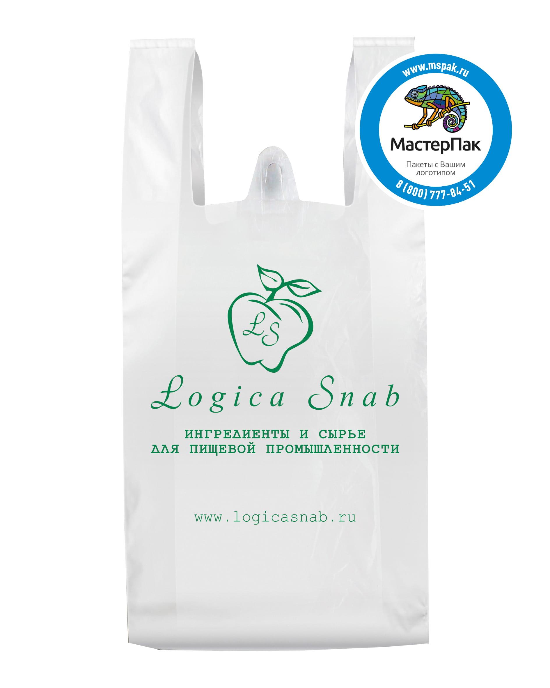 Пакет-майка ПВД с логотипом Logica Snab, Москва, 30 мкм, 40*60