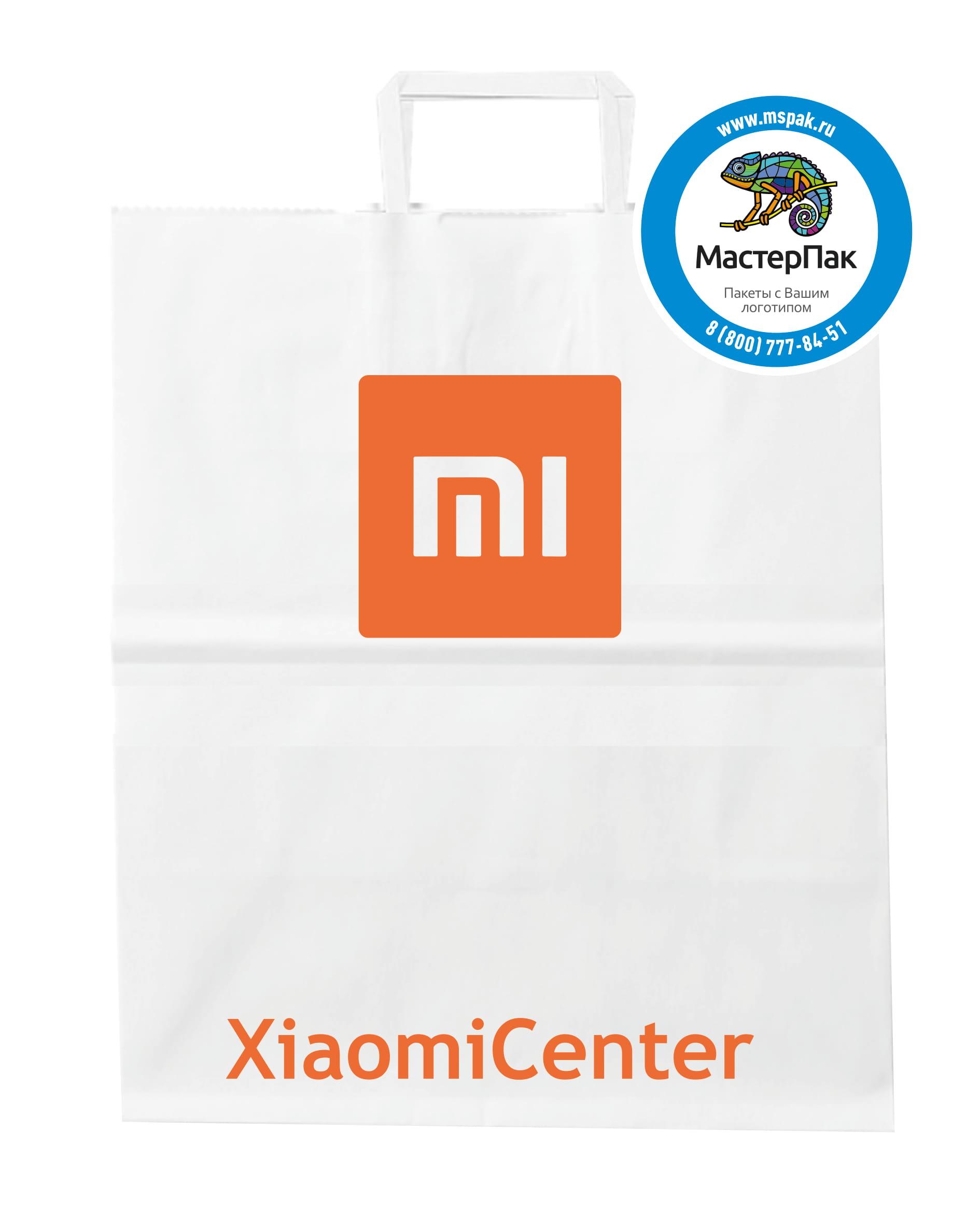 Пакет крафт, бумажный с логотипом Xiaomi Center, Вологда, 24*28 см
