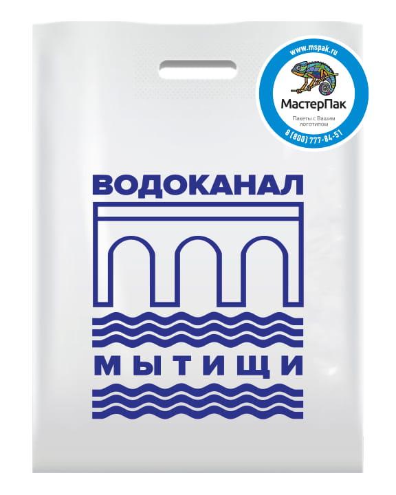 """ПВД пакет с логотипом """"Водоканал Мытищи"""", 70 мкм, 30*40, вырубная ручка, белый"""