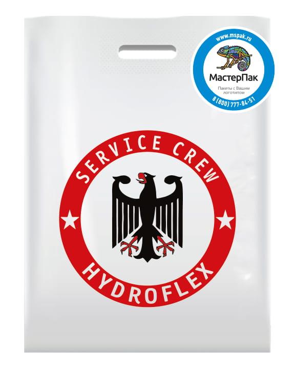 Пакет ПВД с логотипом Service Crew Hydroflex, Химки, 36*45, 70 мкм, вырубная ручка, белый