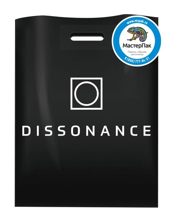 Пакет ПВД с логотипом магазина Dissonance, СПб, 70 мкм, 36*45, черный