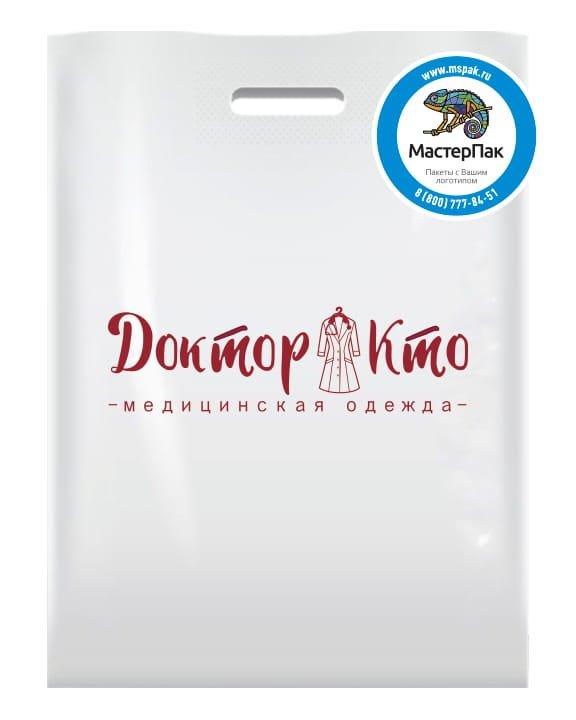 """Пакет ПВД с логотипом """"Доктор Кто"""", Тула, 70 мкм, белый"""