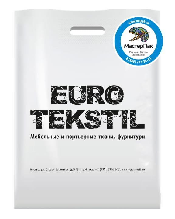 Пакет ПВД с логотипом Euro Tekstil, Москва, белый
