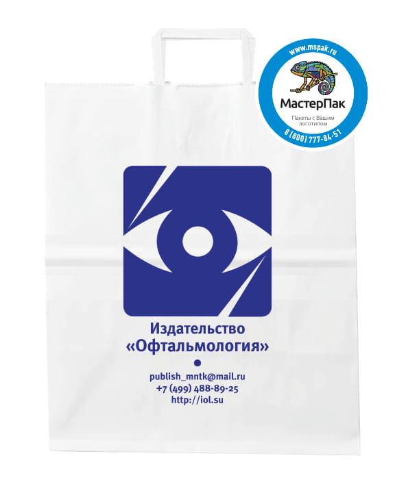 """Пакет бумажный, крафт с логотипом издательства """"Офтальмология"""", Москва, 24*28 , выбеленный, с плоскими ручками"""