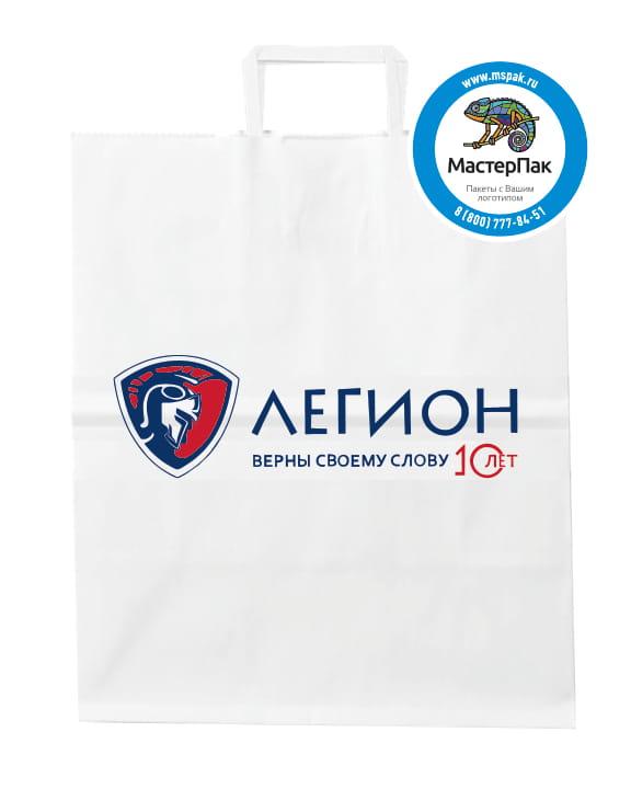 "Пакет крафт, бумажный с логотипом ""Легион"", Москва, 24*28, плоские ручки"