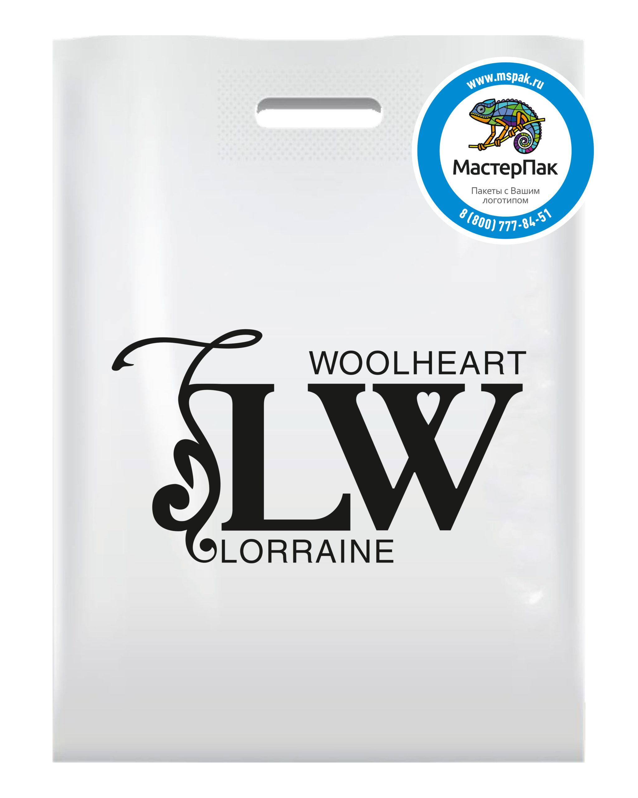 Пакет ПВД с вырубной ручкой и логотипом Lorraine Woolheart, Москва