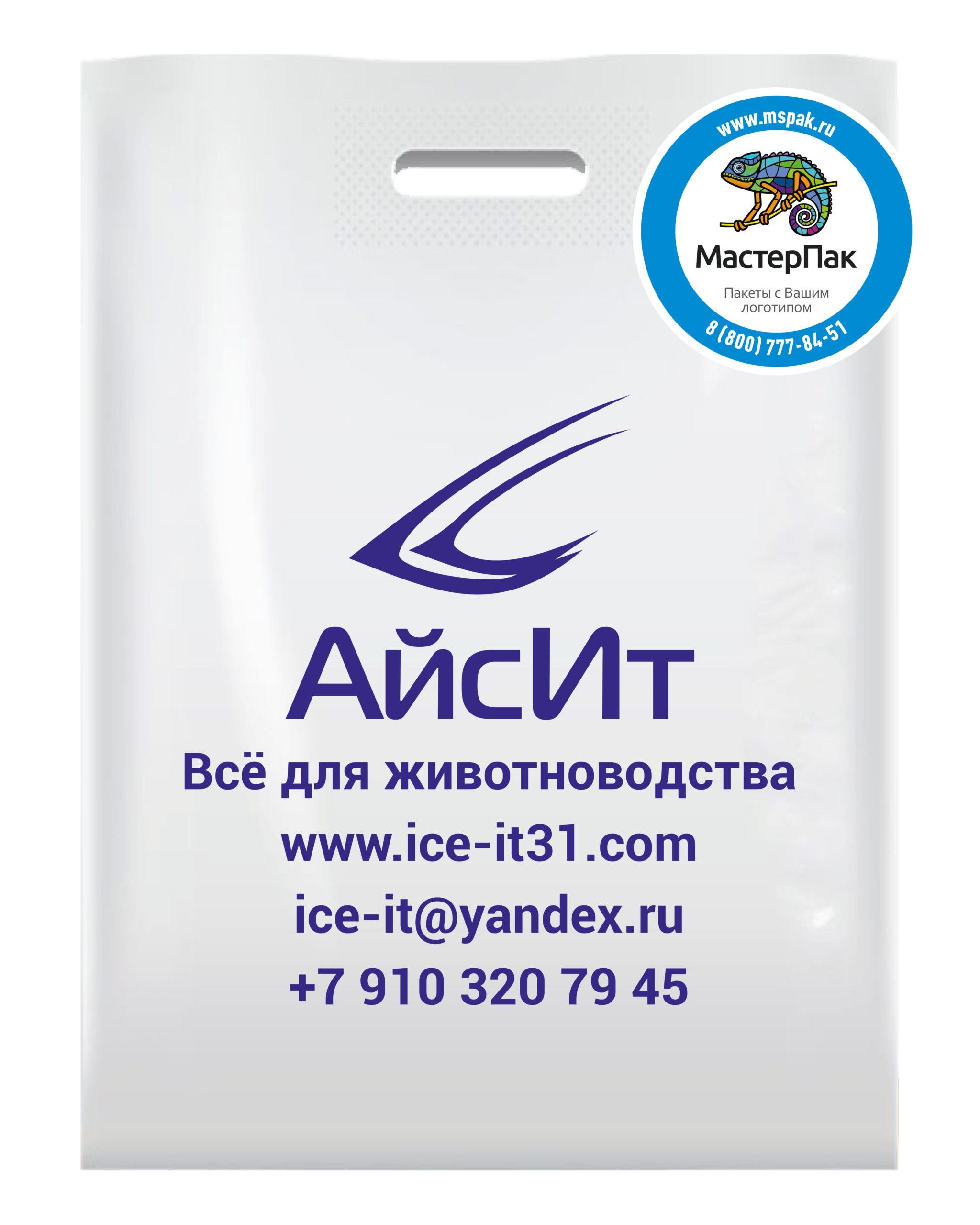 Пакет ПВД с вырубной ручкой и логотипом АйсИТ, Белгород, 70 мкм