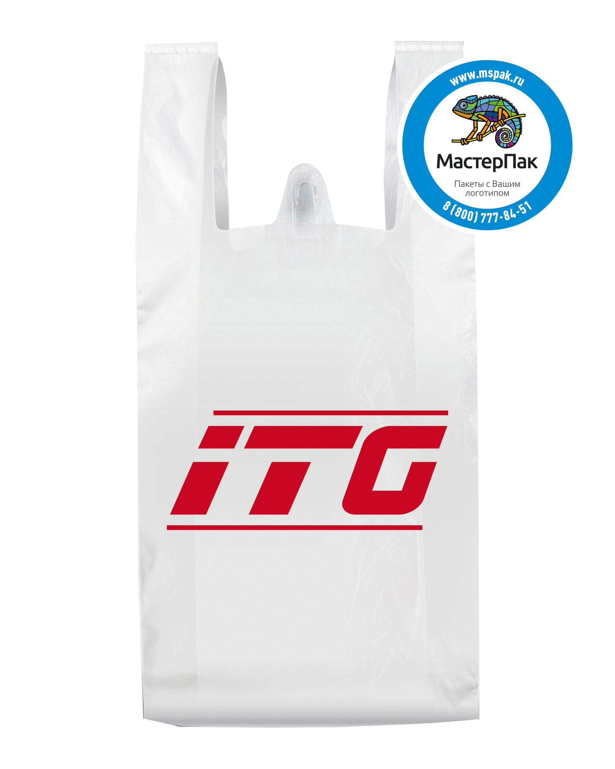 Пакет-майка ПНД с логотипом ITG (флексопечать, 40*60)
