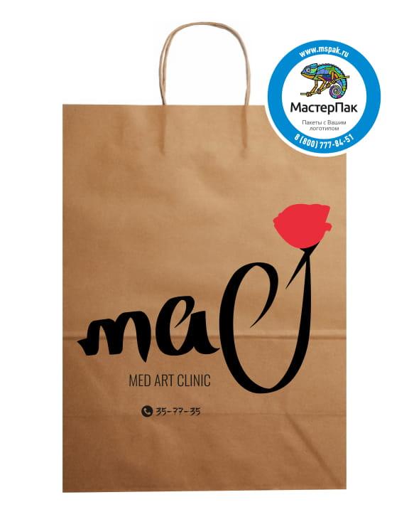 Пакет крафт, бурый с логотипом Мас, 24*28 см, крученые ручки