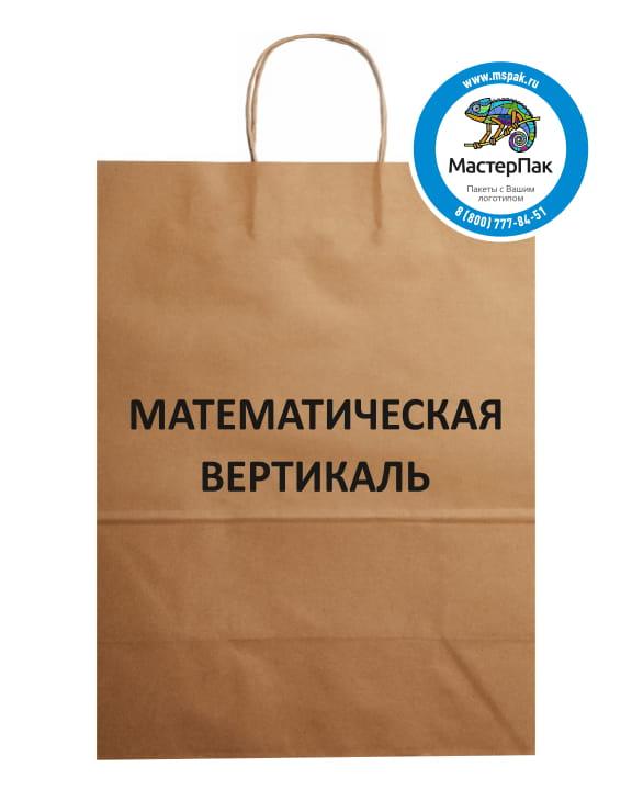 Пакет крафт, бурый с логотипом Математическая вертикаль, Москва, 29*40 см, крученые ручки