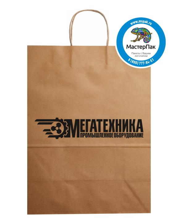 Пакет крафт, бурый с логотипом Мегатехника, Тула, 29*40 см, крученые ручки