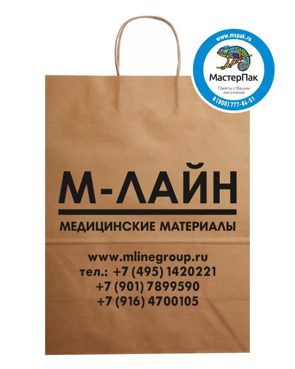 Пакет крафт, бурый с логотипом М-Лайн, Москва, 29*40 см, крученые ручки