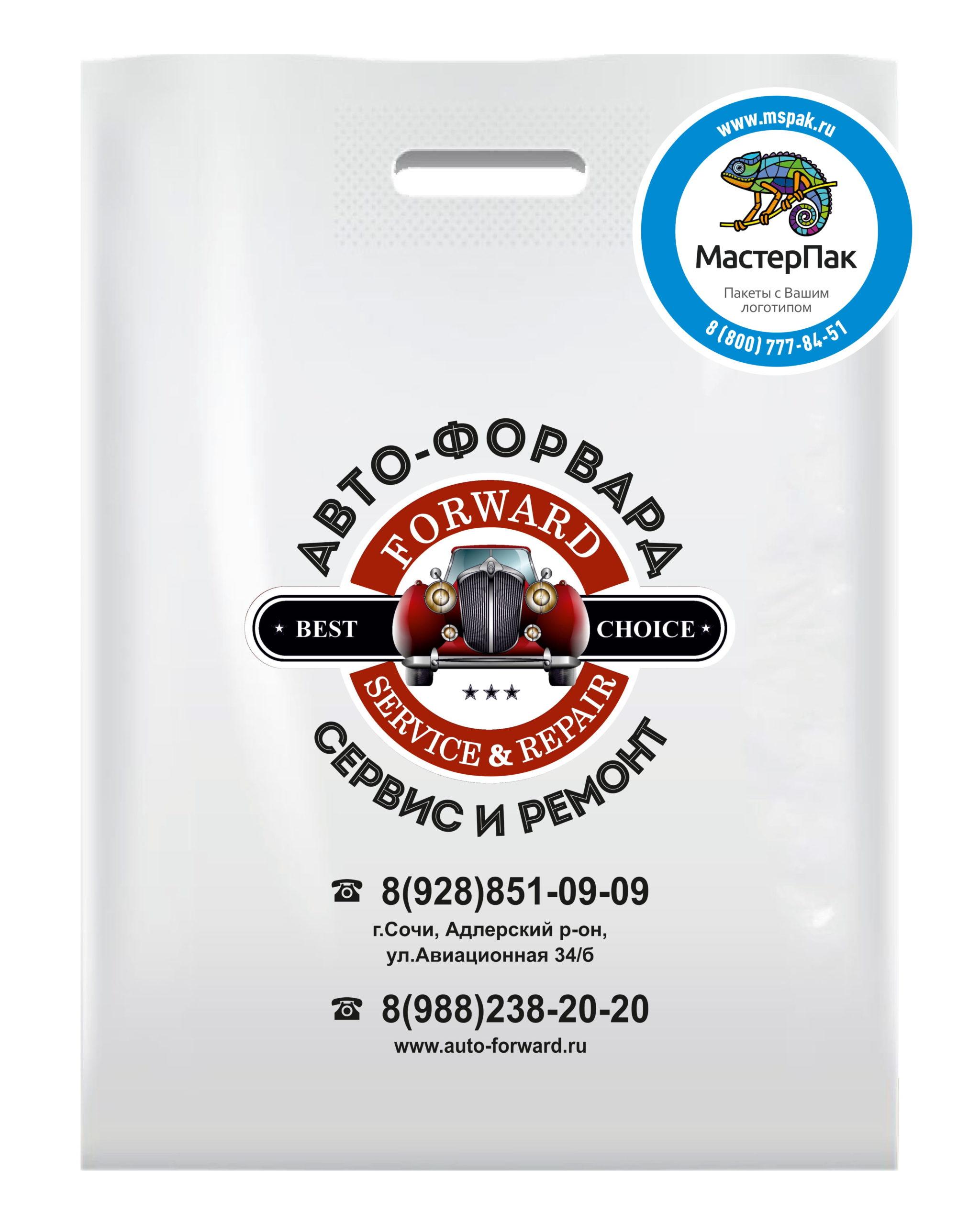 """Пакет ПВД с вырубной ручкой и логотипом """"Авто-Форвард"""", Сочи"""