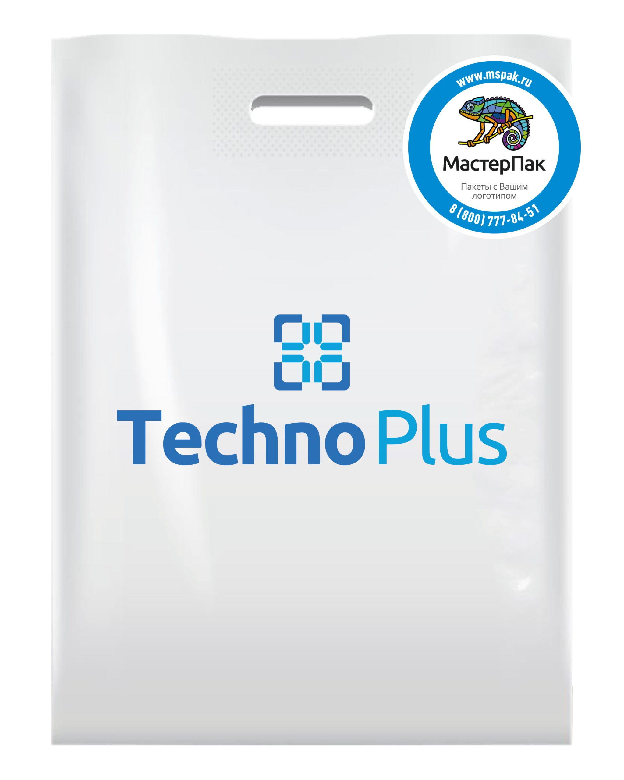 Пакет ПВД с вырубной ручкой и логотипом Tehno plus, Благовещенск