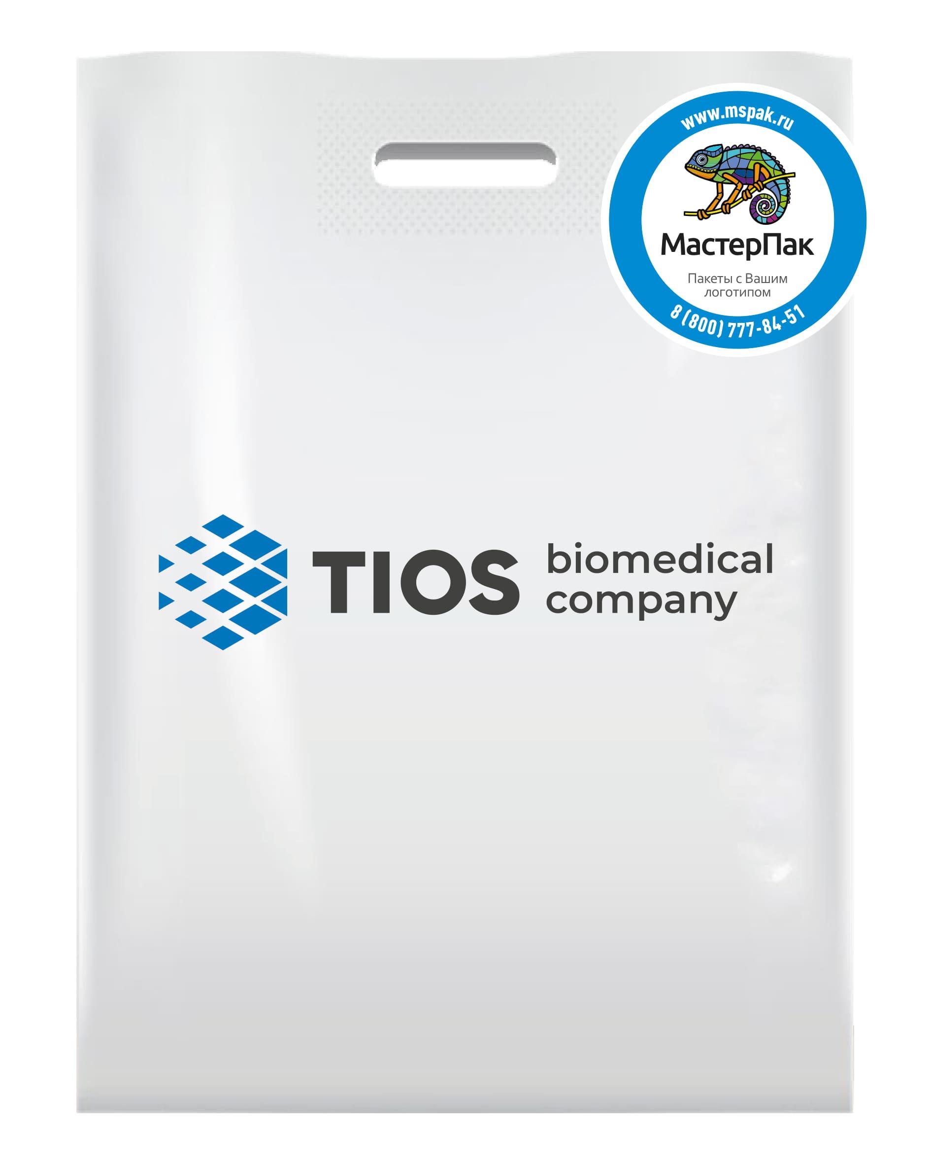 Пакет ПВД с вырубной ручкой и логотипом TIOS, 30*40, 70 мкм