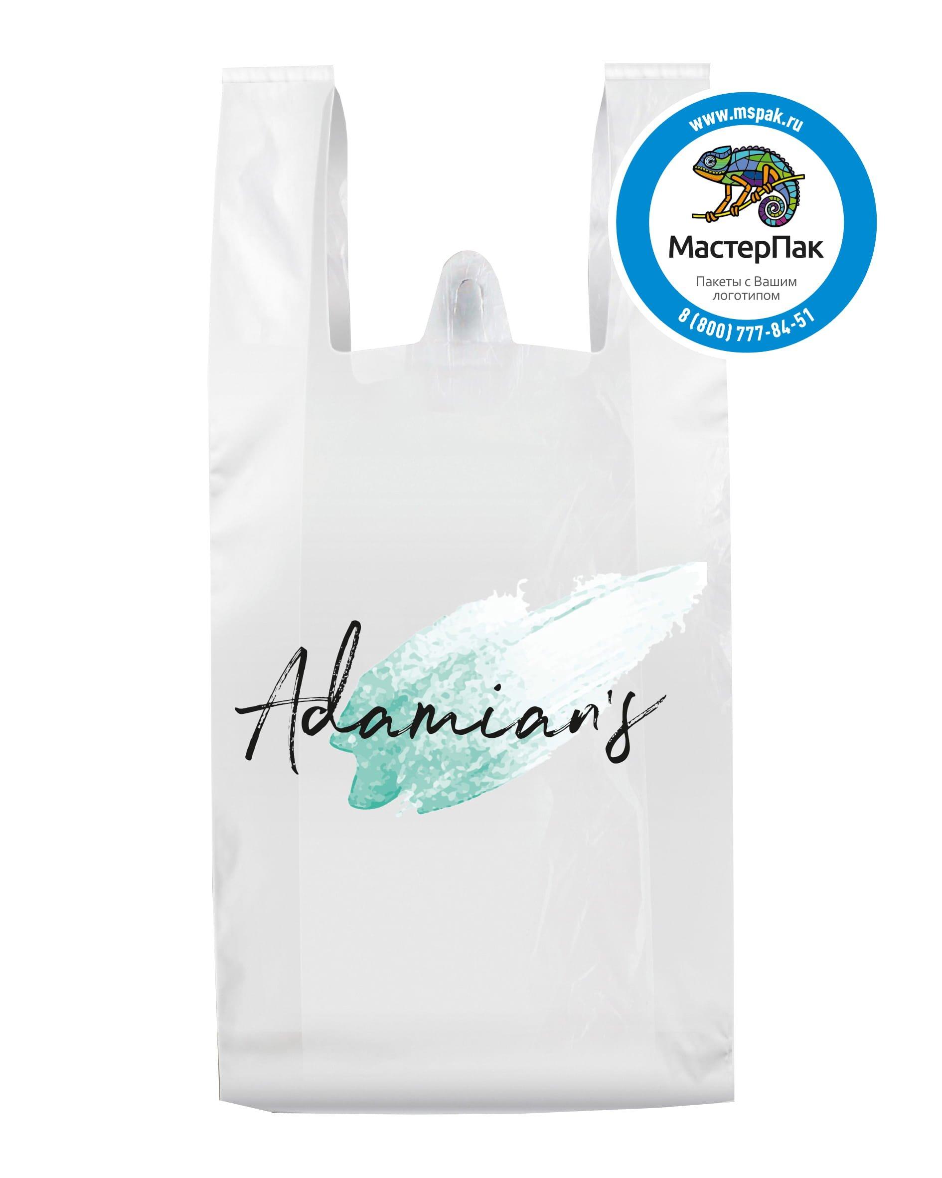 Пакет-майка ПНД с логотипом Adamians, 18 мкм, 40*60, Благовещенск