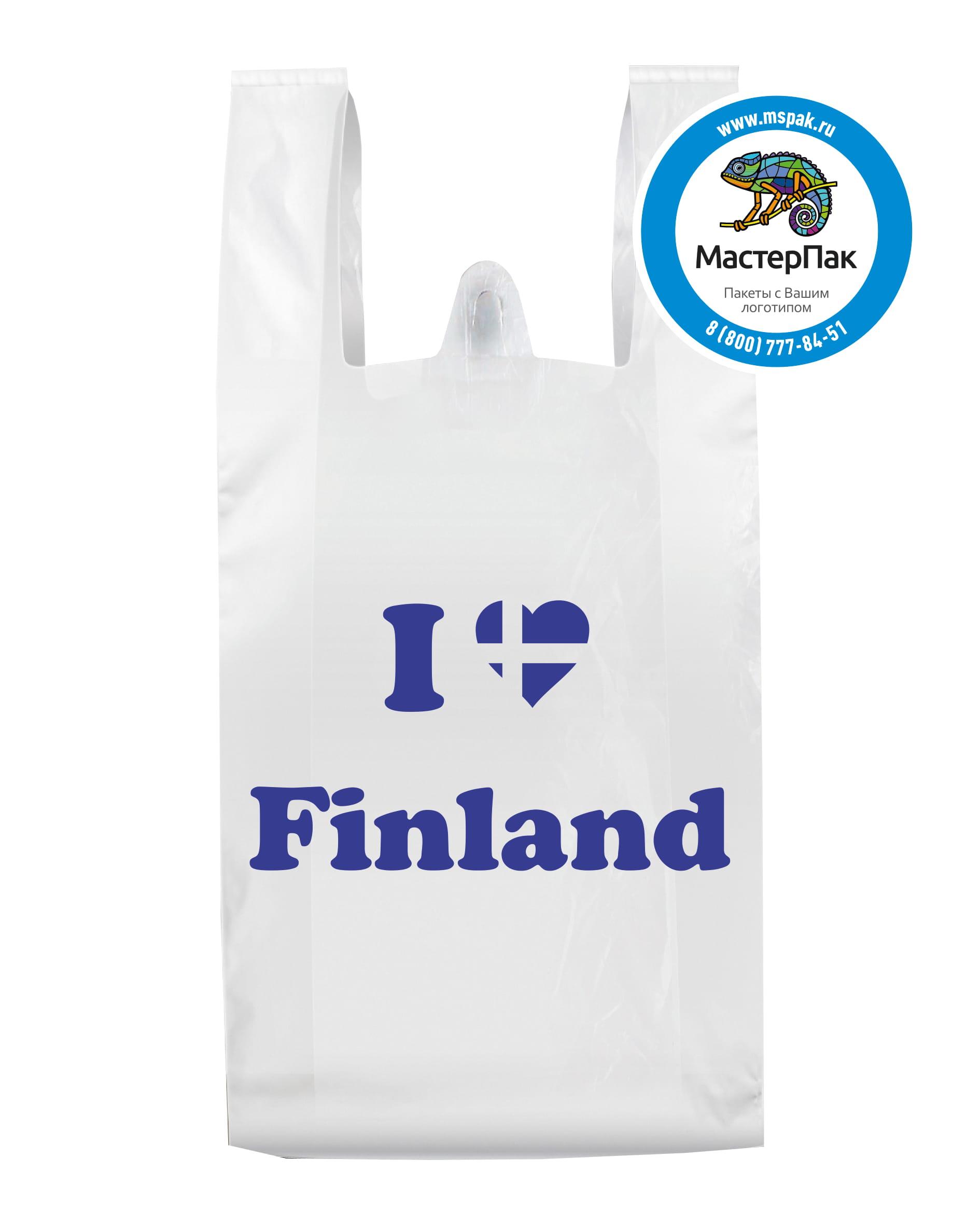 Пакет-майка ПВД с логотипом Finland, вырубная ручка, 30 мкм, 40*60