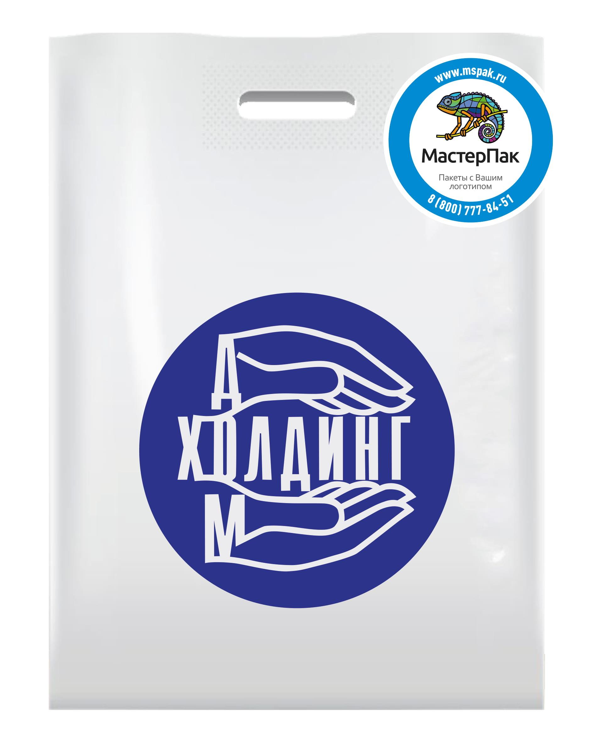 Пакет ПВД с логотипом ДМ Холдинг, вырубная ручка, Москва