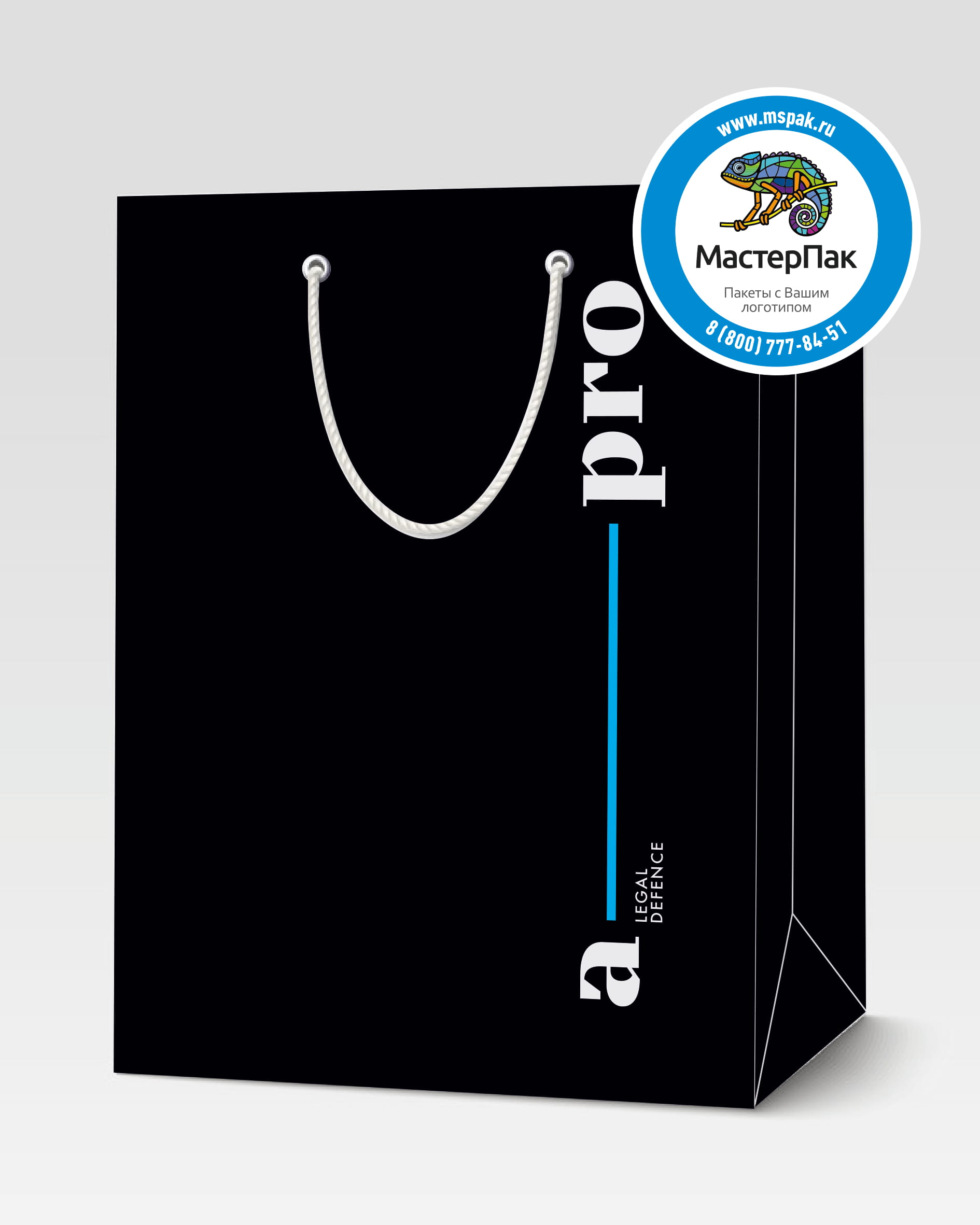 Пакет подарочный, бумажный с логотипом A pro, Москва, ручки-шнурки