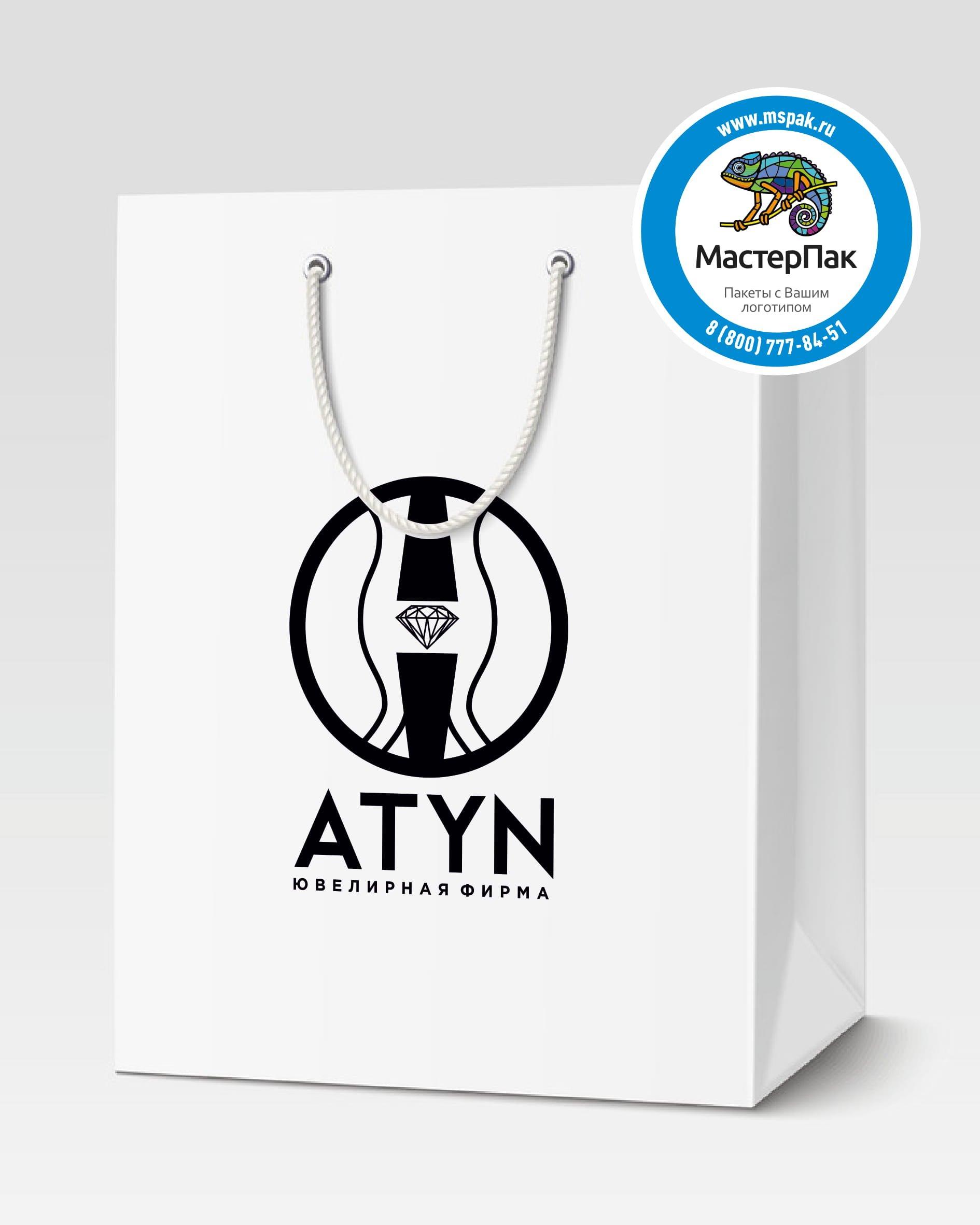 Пакет подарочный, бумажный с логотипом ATYN, Сочи, 30*40, люверсы