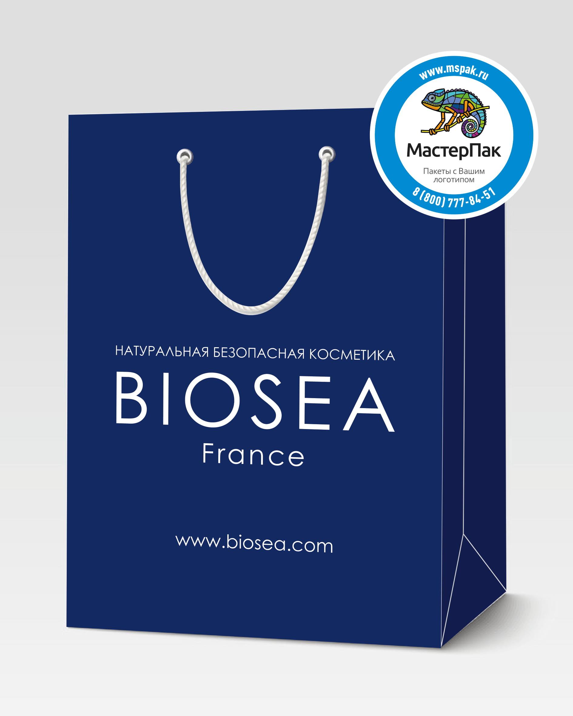 Пакет подарочный, бумажный с логотипом BioSea, Москва, 30*40, люверсы