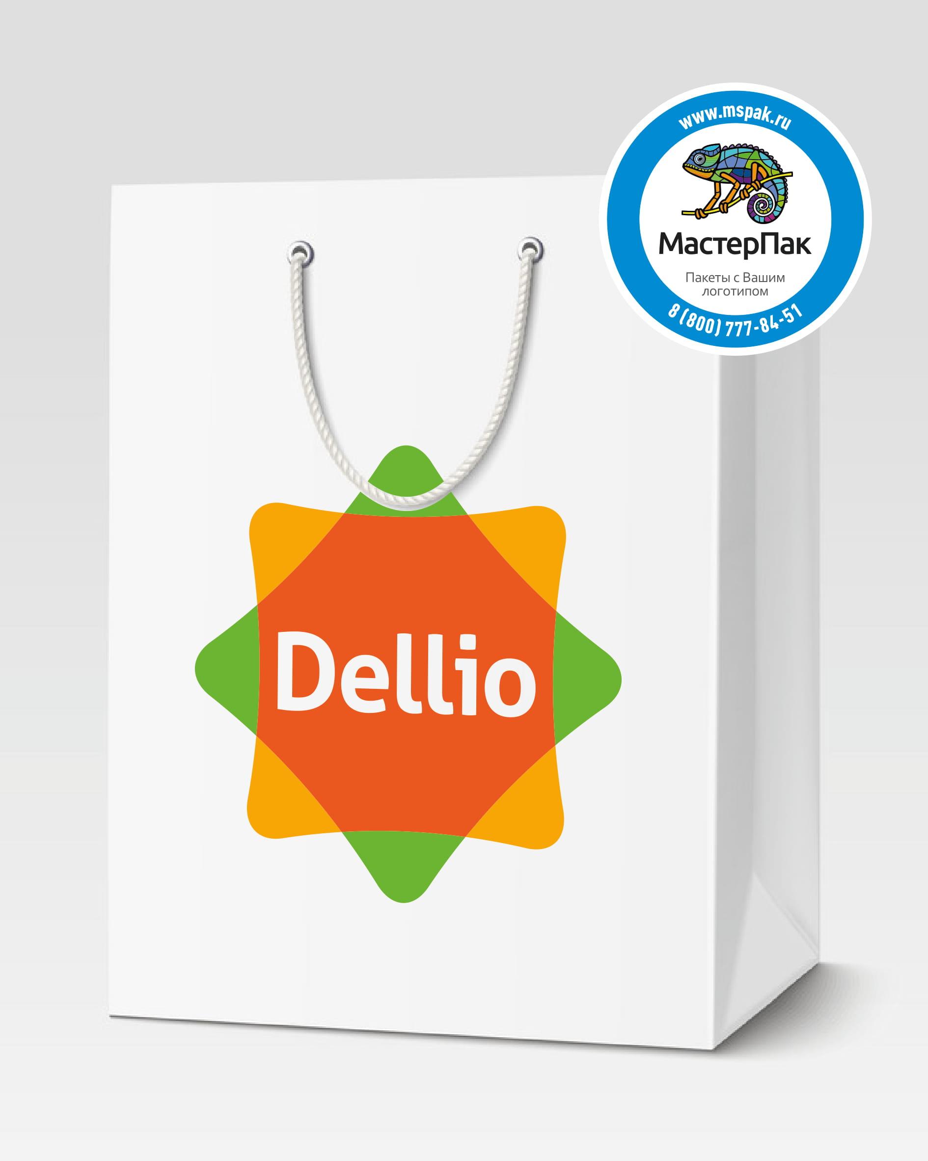 Пакет подарочный, бумажный с логотипом Dellio, Москва, 30*40, люверсы