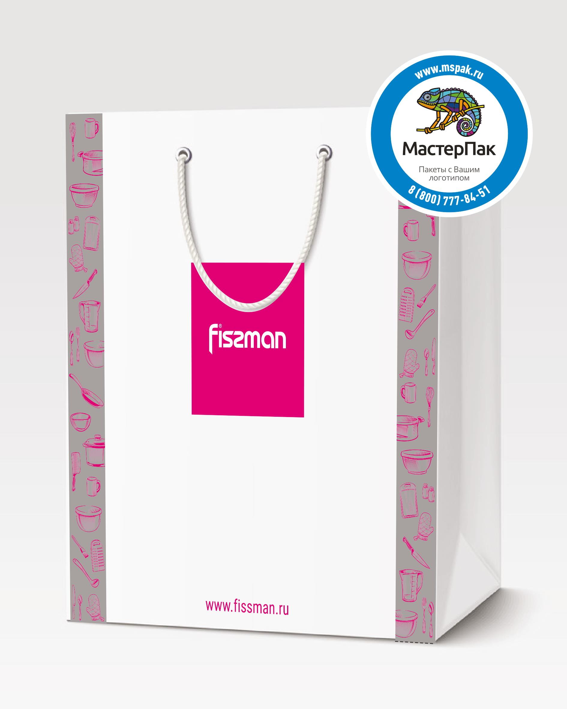 Пакет подарочный, бумажный с логотипом Fissman, Москва, 30*40, люверсы