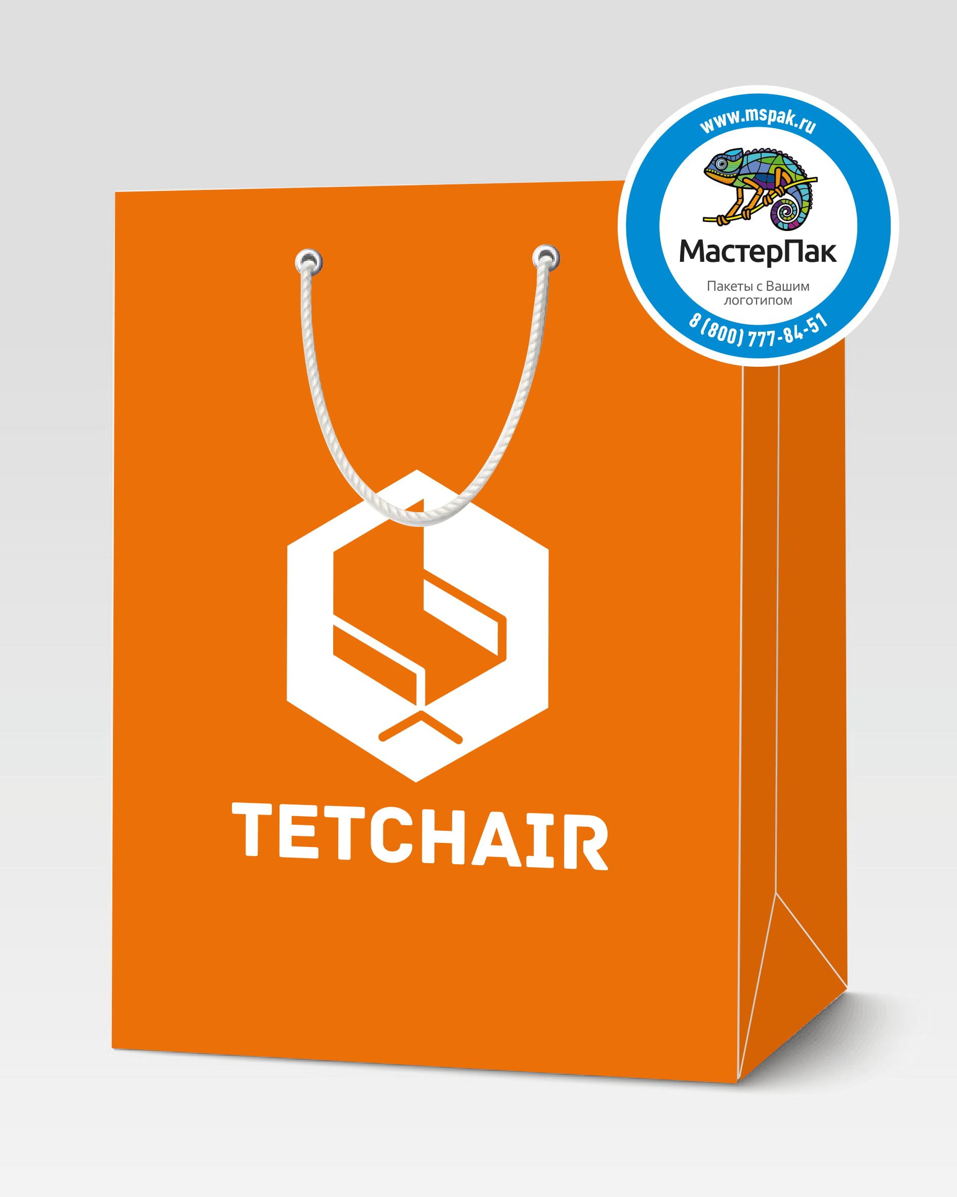 Пакет подарочный, бумажный с логотипом Tetchair, Москва, люверсы, 30*40