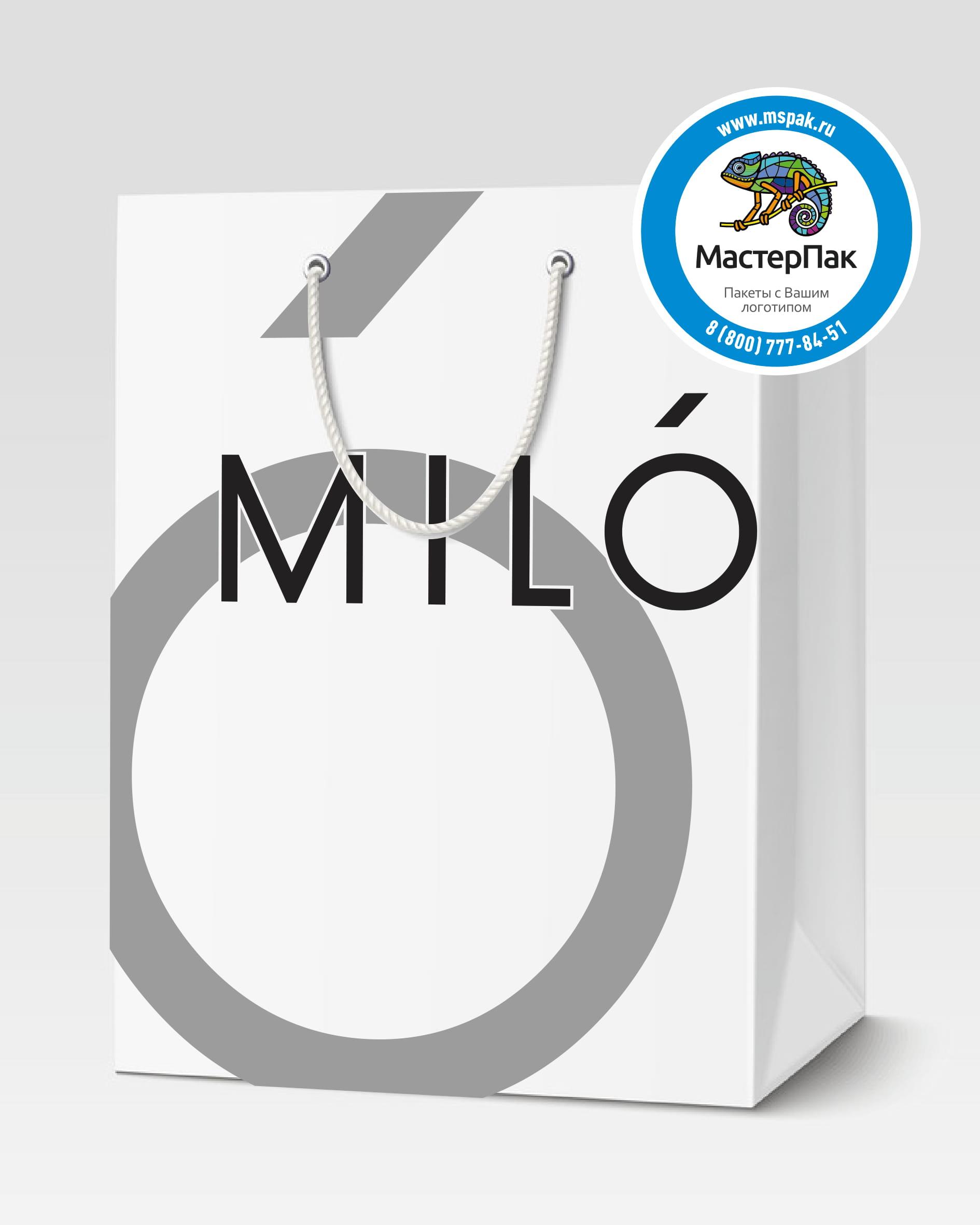 Пакет подарочный, бумажный с логотипом Milo, Великий Новгород, люверсы, 30*40