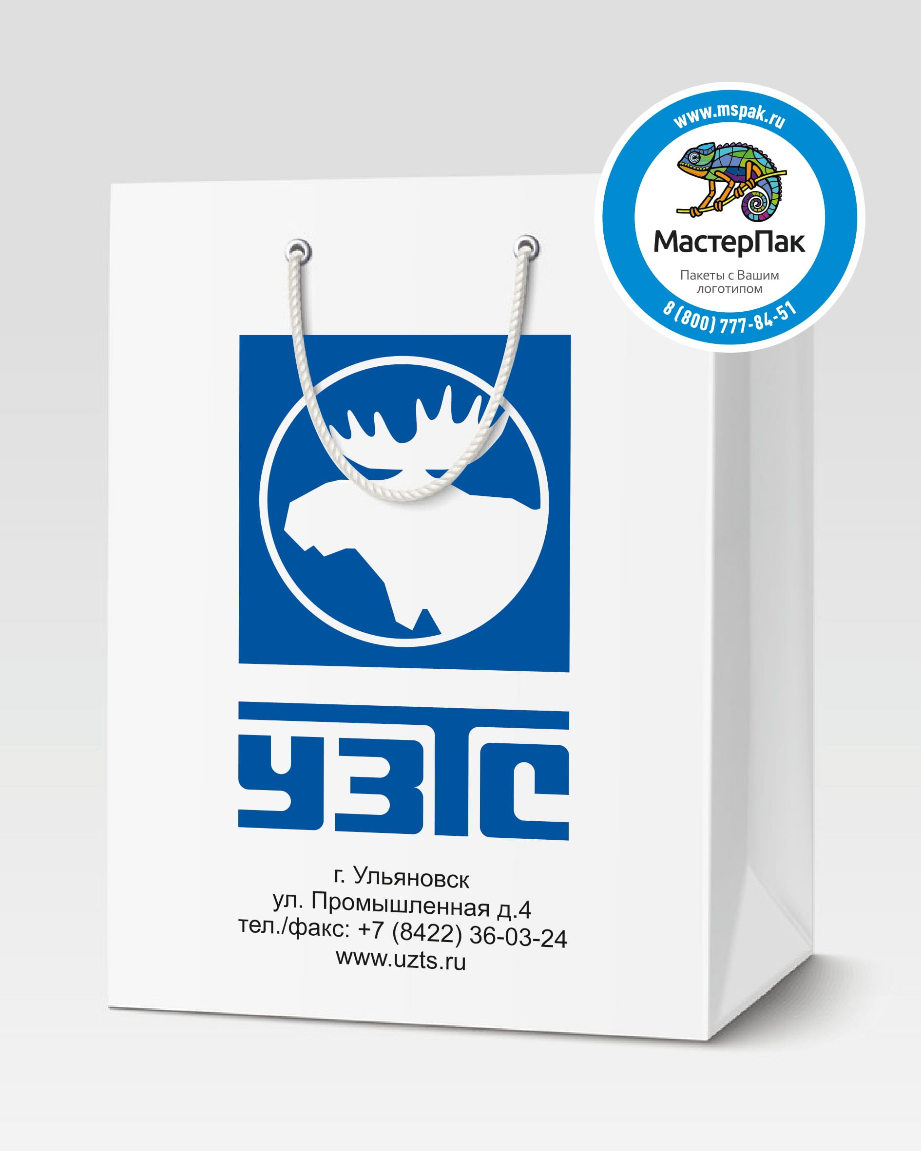 Пакет подарочный, бумажный с логотипом Ульяновский завод тяжёлых и уникальных станков, 30*40, люверсы