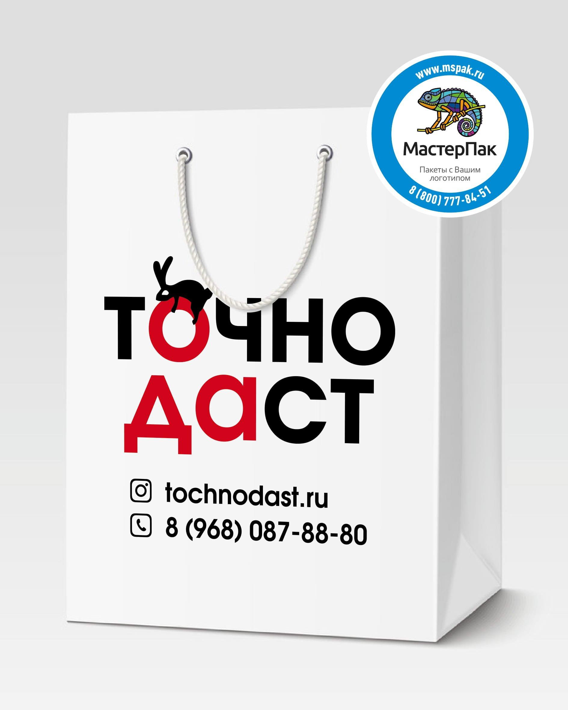 Пакет подарочный, бумажный с логотипом Точно Даст, Москва, 30*40, люверсы