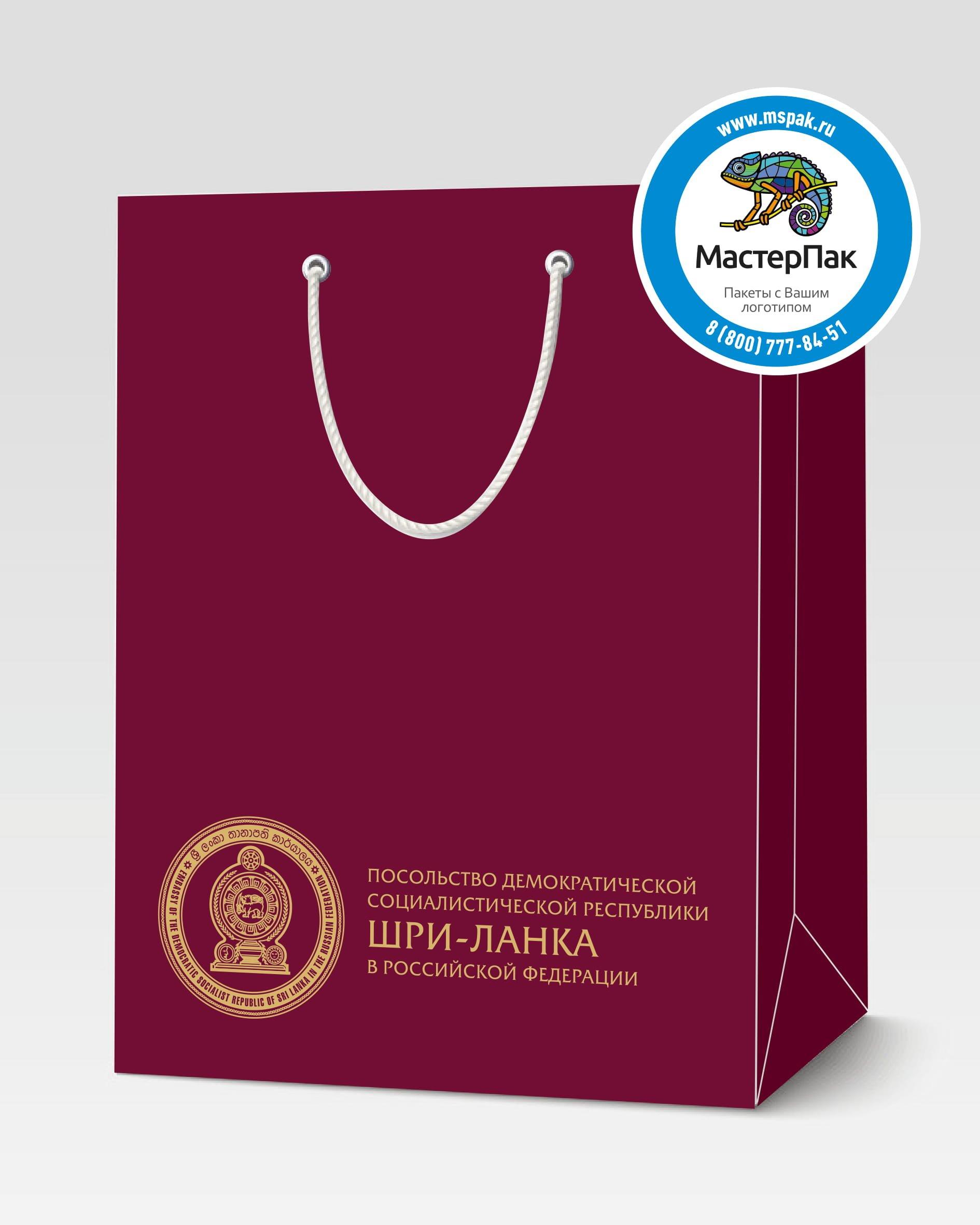 Пакет подарочный, бумажный с логотипом Шри-Ланка, Москва, 30*40, люверсы