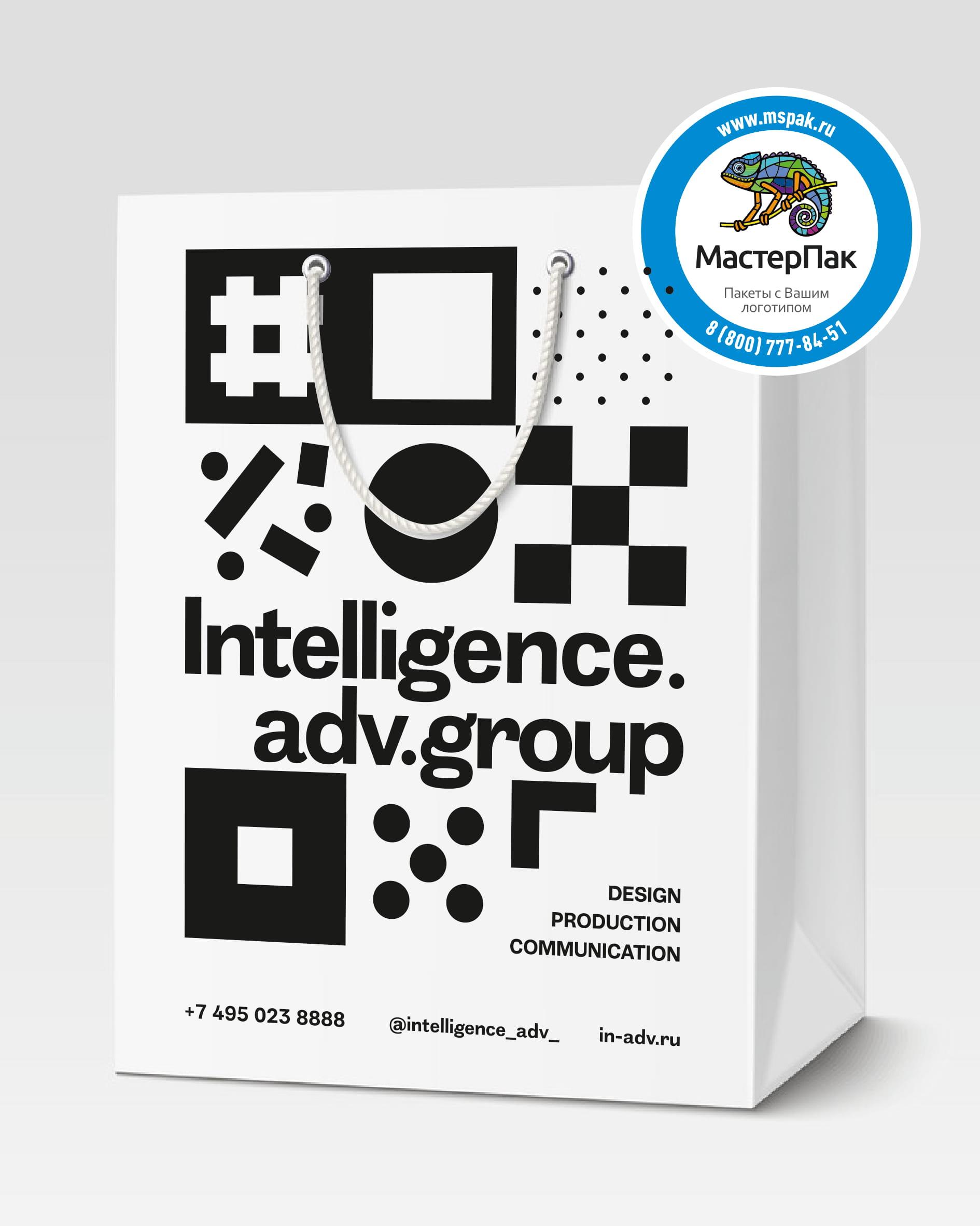 Пакет подарочный, бумажный с логотипом Intelligence.adv.group, 30*40, люверсы