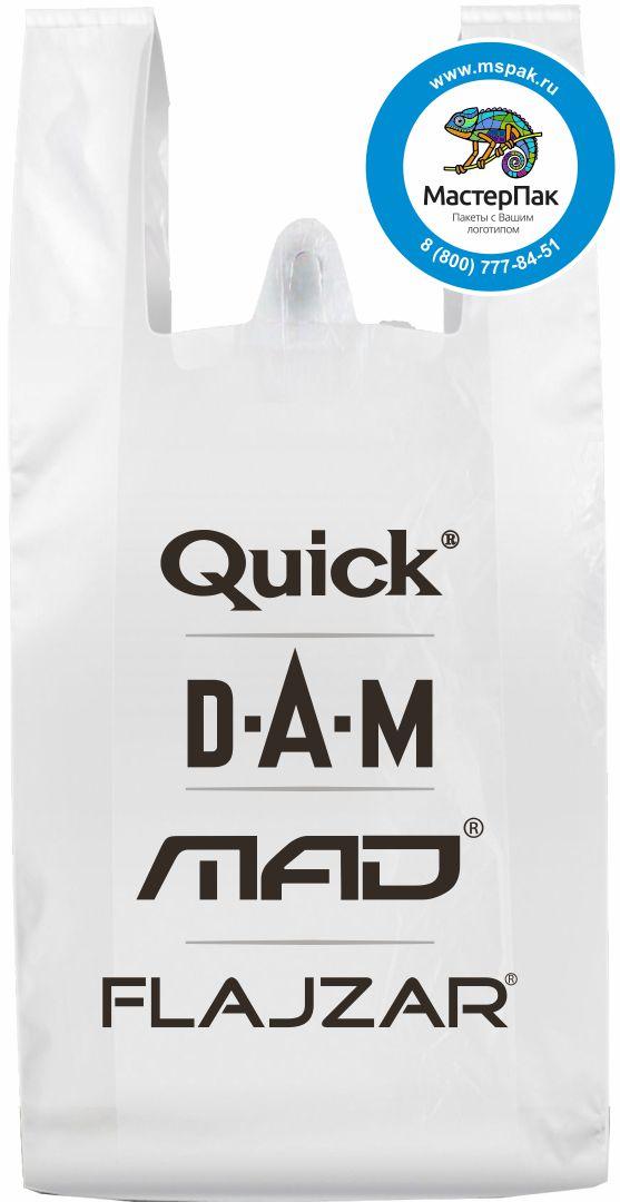 Пакет-майка ПНД с логотипом сети Quick. DAM. MAD. FLAJZAR