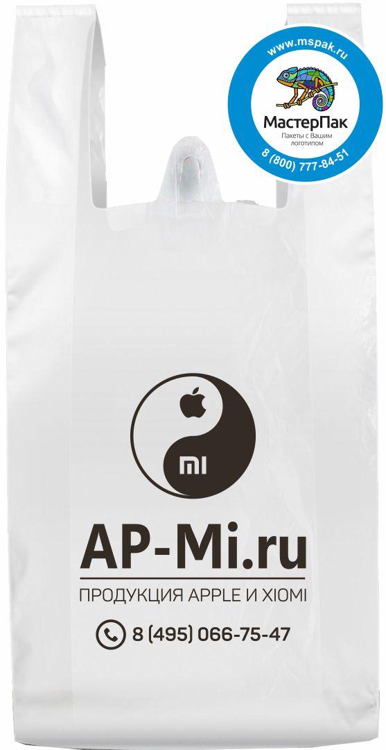 Пакет-майка ПНД с логотипом Ap-Mi.ru, флексопечать, 25 мкм, белый, 30*60