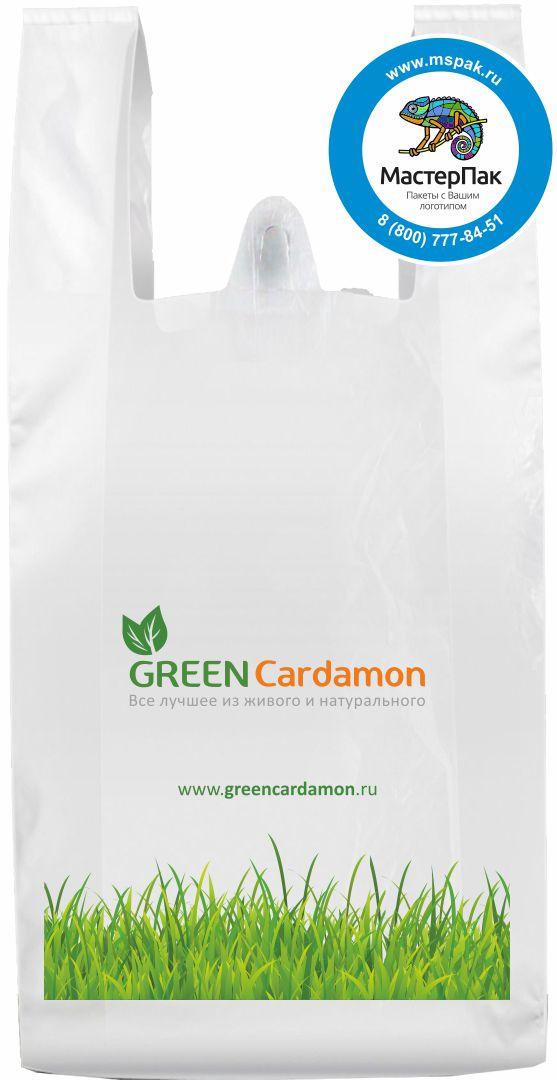 Пакет-майка ПНД с логотипом Green Cardamon, Москва (флексопечать)