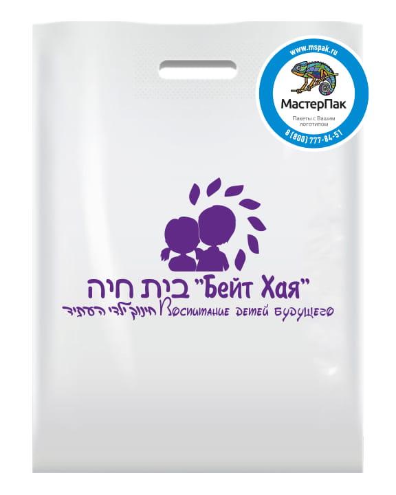 Пакет ПВД с логотипом школы Бейт Хая, Москва, 30*40, 70 мкм, белый