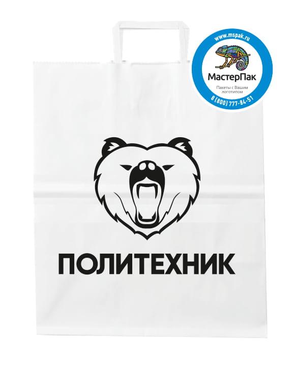 Пакет бумажный, крафтовый с логотипом «Политехник», Воронеж, 29*40, белый