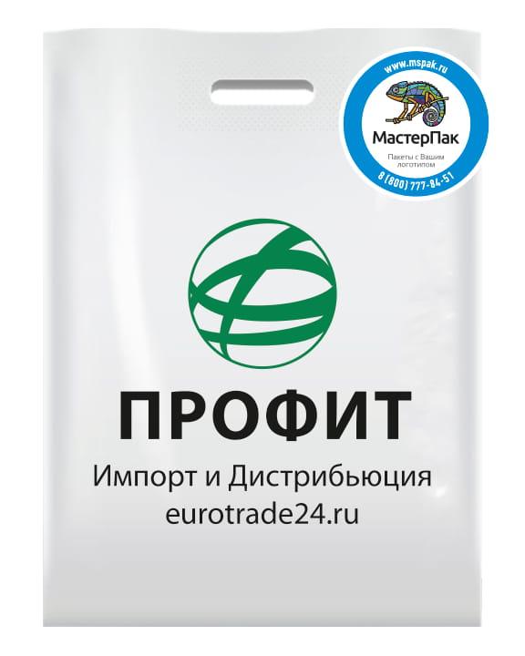 """ПВД пакет с логотипом """"ПРОФИТ"""", Екатеринбург, 2 цвета, 70 мкм, 30*40, белый"""