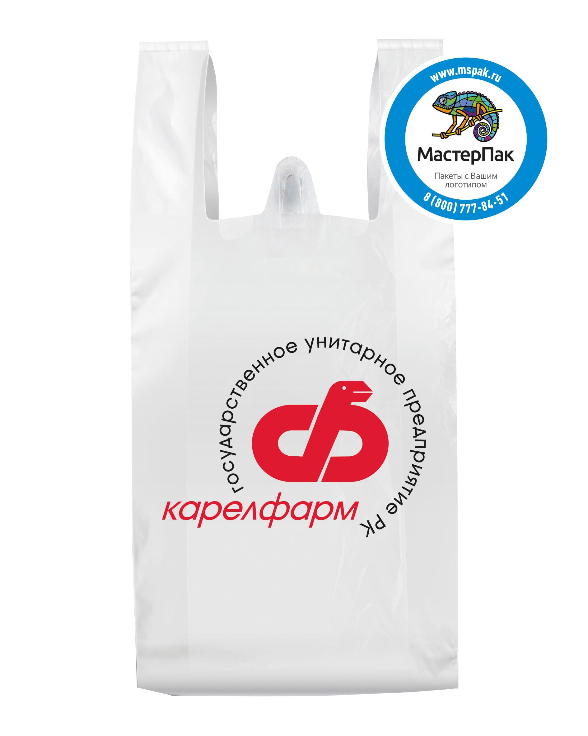 Пакет-майка ПНД, белый, с логотипом Карелфарм, 25 мкм, 30*60