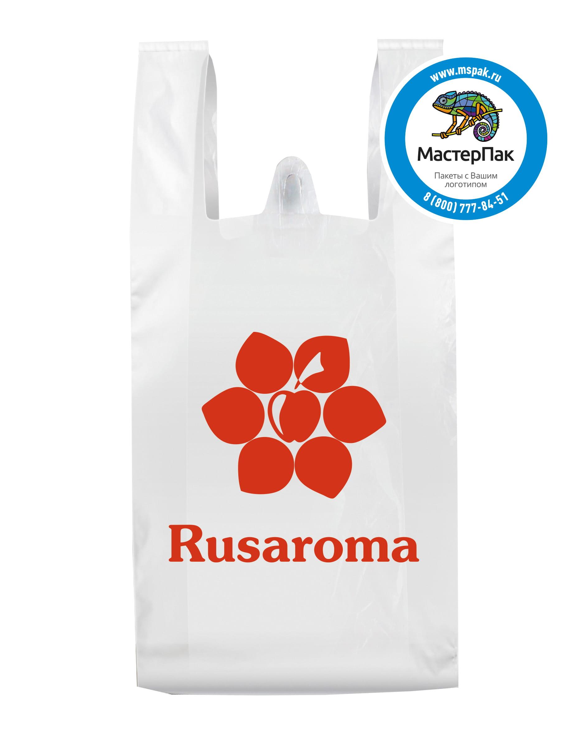 Пакет-майка ПНД, белый, с логотипом Rusaroma , 23 мкм, 30*60