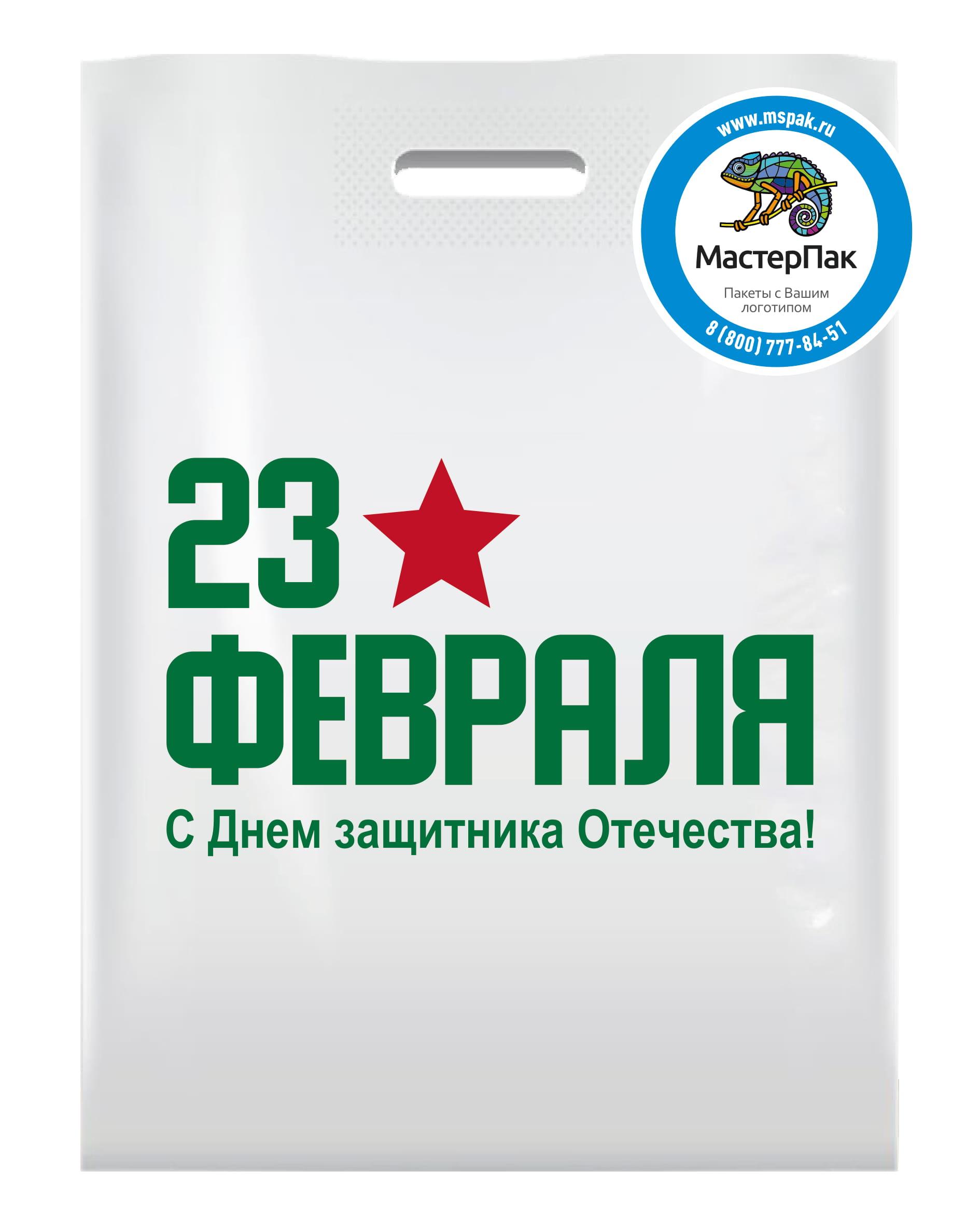 Пакет ПВД с вырубной ручной и логотипом 23 февраля (шелкография), 70 мкм