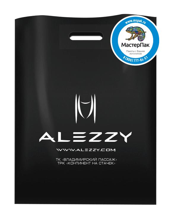 Брендированный пакет из ПВД в 70 мкм размером 36*45 см с логотипом магазина авторской современной одежды ALEZZY